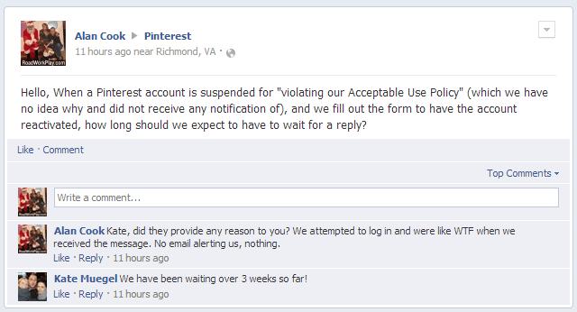 Pinterest suspension inquiry on facebook